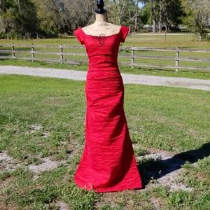 Dress, Prom, Formal, Red, Floor Length, Train